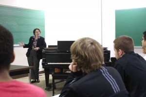 Carol teaching at the College of the Holy Cross, 2014