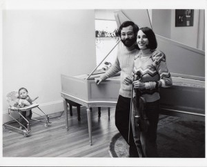 Publicity photo, 1976, with Ethan Kroll, age 9 months, observing with approval <a class=