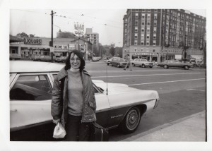 Carol with the same Pontiac station wagon, 1974