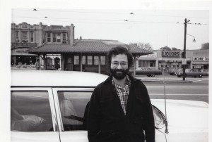 Mark in front of his nine-passenger 1967 Pontiac Executive Safari station wagon before a tour <a class=